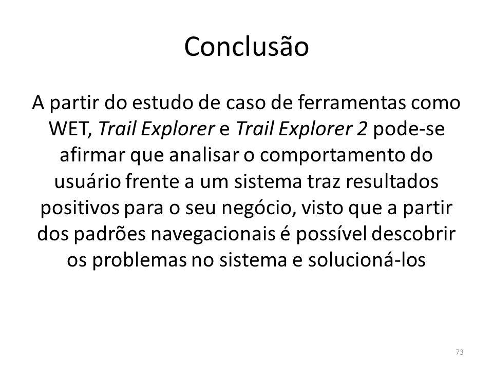 Conclusão A partir do estudo de caso de ferramentas como WET, Trail Explorer e Trail Explorer 2 pode-se afirmar que analisar o comportamento do usuári