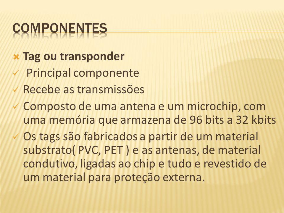 Tag ou transponder Principal componente Recebe as transmissões Composto de uma antena e um microchip, com uma memória que armazena de 96 bits a 32 kbi