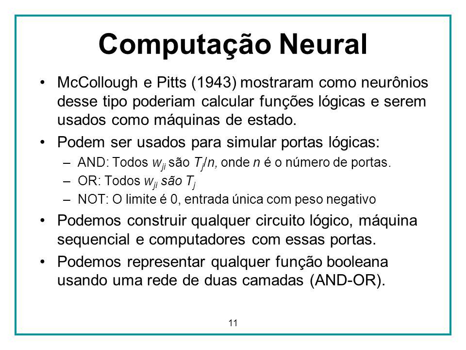 11 McCollough e Pitts (1943) mostraram como neurônios desse tipo poderiam calcular funções lógicas e serem usados como máquinas de estado. Podem ser u