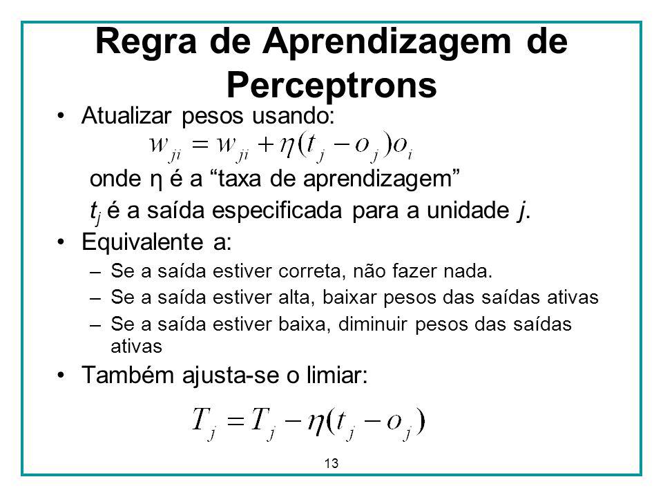 13 Regra de Aprendizagem de Perceptrons Atualizar pesos usando: onde η é a taxa de aprendizagem t j é a saída especificada para a unidade j. Equivalen