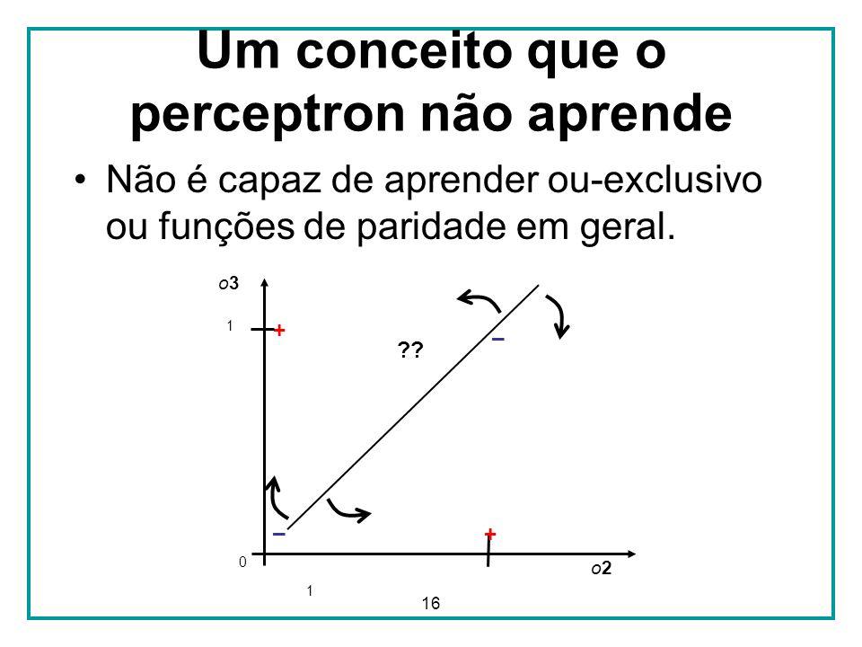 16 Um conceito que o perceptron não aprende Não é capaz de aprender ou-exclusivo ou funções de paridade em geral. o3o3 o2o2 ?? + 1 0 1 – + –