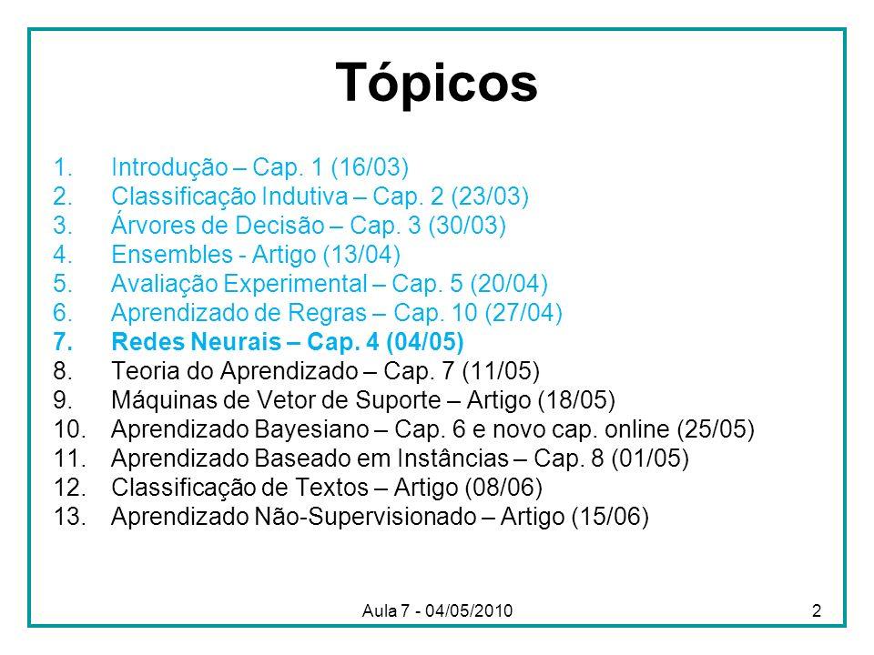 Aula 7 - 04/05/2010 Tópicos 1.Introdução – Cap. 1 (16/03) 2.Classificação Indutiva – Cap. 2 (23/03) 3.Árvores de Decisão – Cap. 3 (30/03) 4.Ensembles