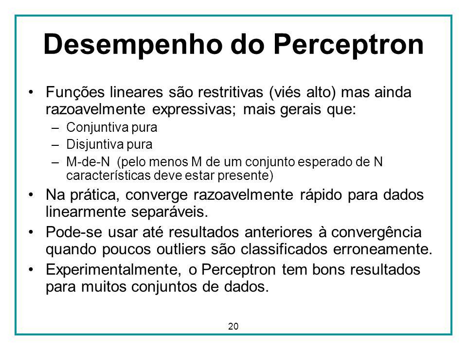 20 Desempenho do Perceptron Funções lineares são restritivas (viés alto) mas ainda razoavelmente expressivas; mais gerais que: –Conjuntiva pura –Disju