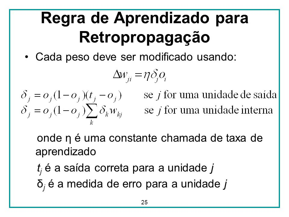 25 Regra de Aprendizado para Retropropagação Cada peso deve ser modificado usando: onde η é uma constante chamada de taxa de aprendizado t j é a saída