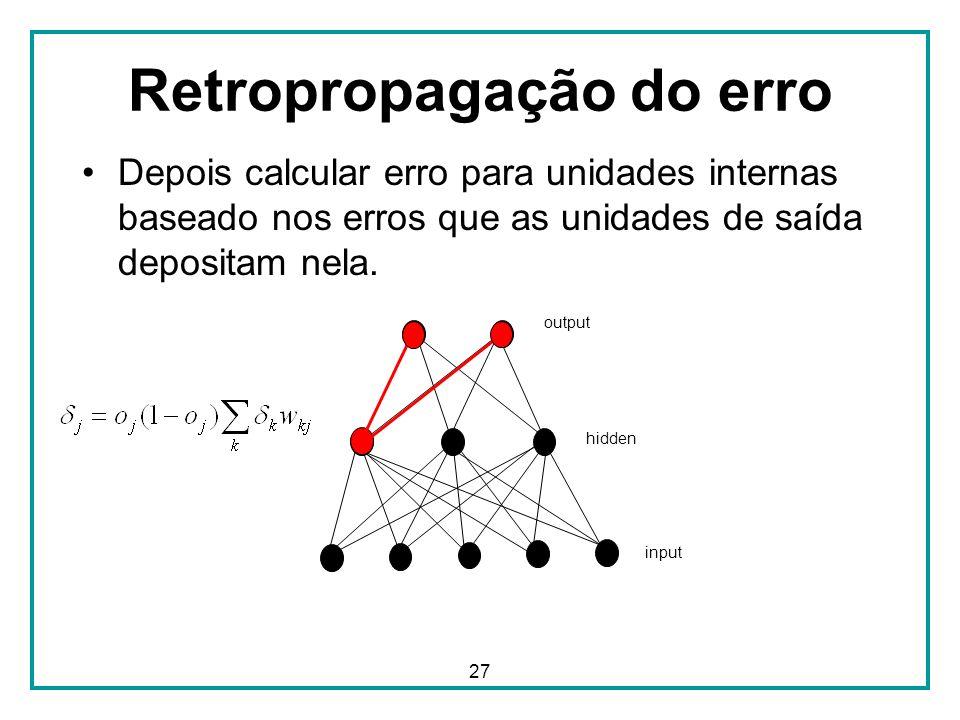27 Retropropagação do erro Depois calcular erro para unidades internas baseado nos erros que as unidades de saída depositam nela. output hidden input