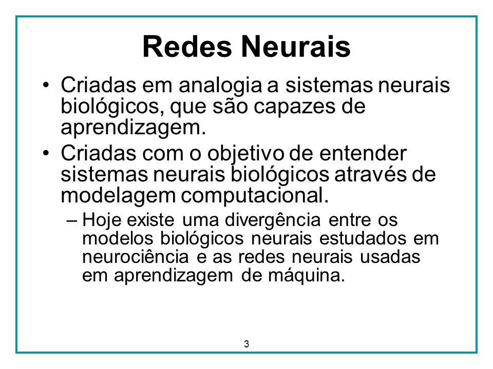 3 Redes Neurais Criadas em analogia a sistemas neurais biológicos, que são capazes de aprendizagem. Criadas com o objetivo de entender sistemas neurai