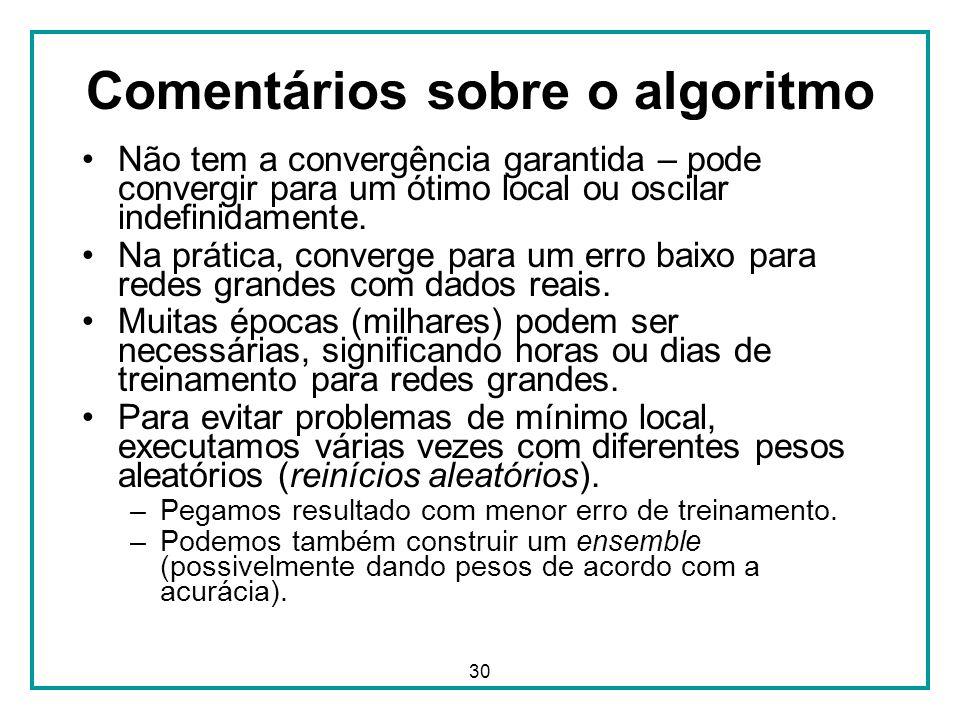30 Comentários sobre o algoritmo Não tem a convergência garantida – pode convergir para um ótimo local ou oscilar indefinidamente. Na prática, converg