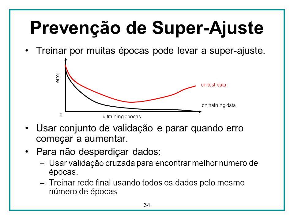34 Prevenção de Super-Ajuste Treinar por muitas épocas pode levar a super-ajuste. Usar conjunto de validação e parar quando erro começar a aumentar. P