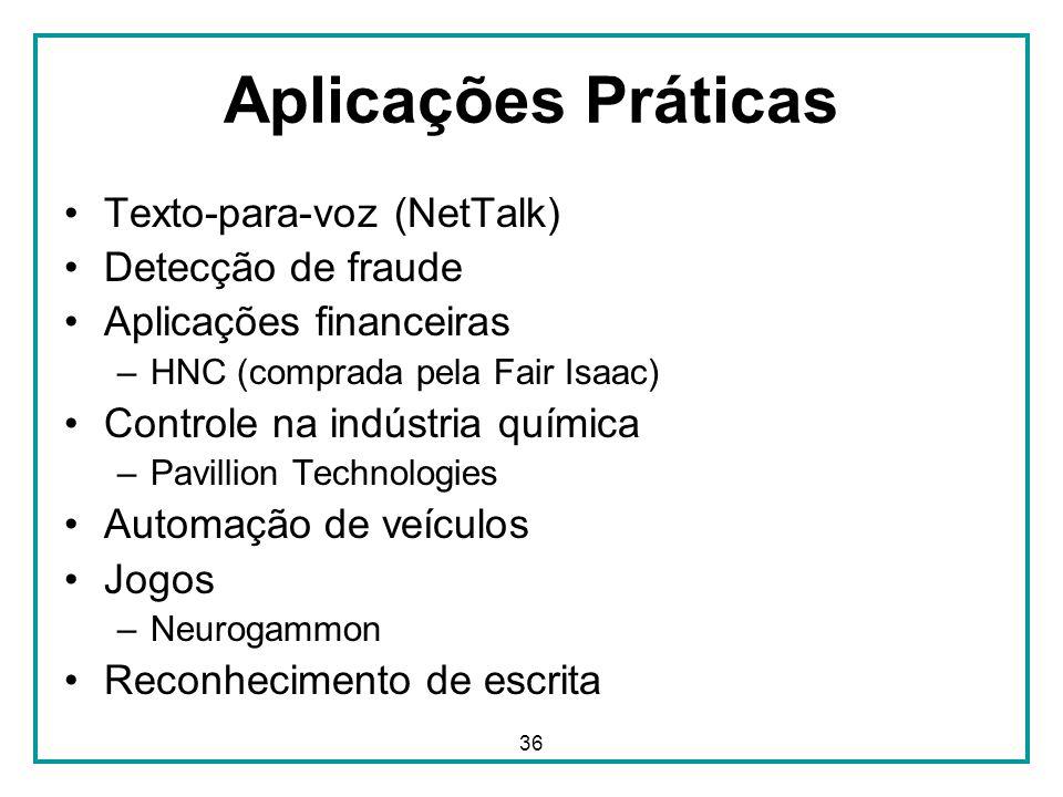36 Aplicações Práticas Texto-para-voz (NetTalk) Detecção de fraude Aplicações financeiras –HNC (comprada pela Fair Isaac) Controle na indústria químic
