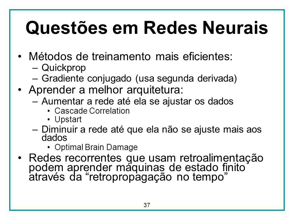 37 Questões em Redes Neurais Métodos de treinamento mais eficientes: –Quickprop –Gradiente conjugado (usa segunda derivada) Aprender a melhor arquitet