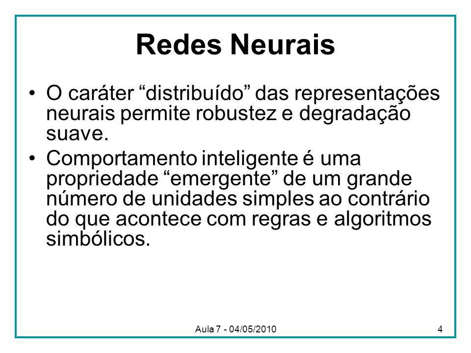 Redes Neurais O caráter distribuído das representações neurais permite robustez e degradação suave. Comportamento inteligente é uma propriedade emerge