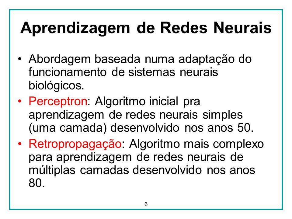 6 Aprendizagem de Redes Neurais Abordagem baseada numa adaptação do funcionamento de sistemas neurais biológicos. Perceptron: Algoritmo inicial pra ap