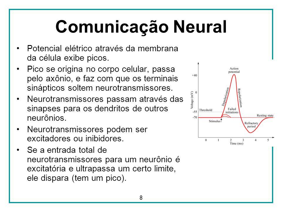 8 Comunicação Neural Potencial elétrico através da membrana da célula exibe picos. Pico se origina no corpo celular, passa pelo axônio, e faz com que