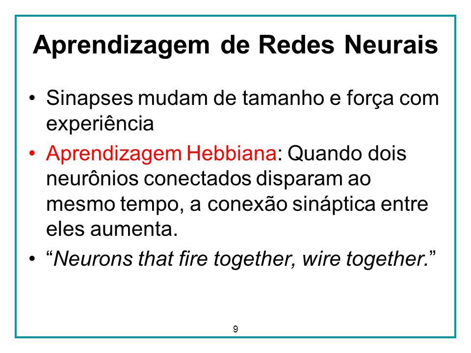 9 Aprendizagem de Redes Neurais Sinapses mudam de tamanho e força com experiência Aprendizagem Hebbiana: Quando dois neurônios conectados disparam ao