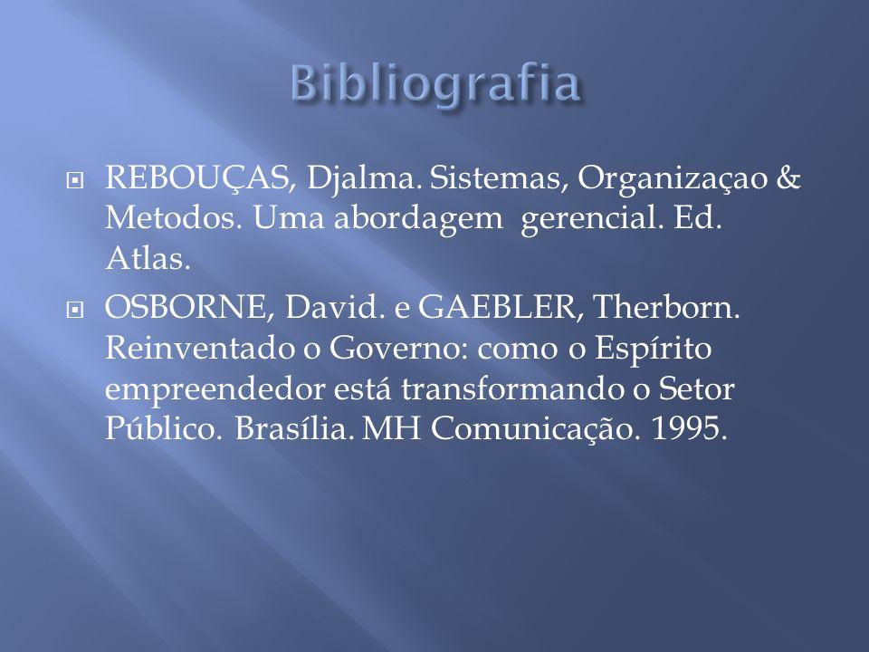 REBOUÇAS, Djalma. Sistemas, Organizaçao & Metodos.