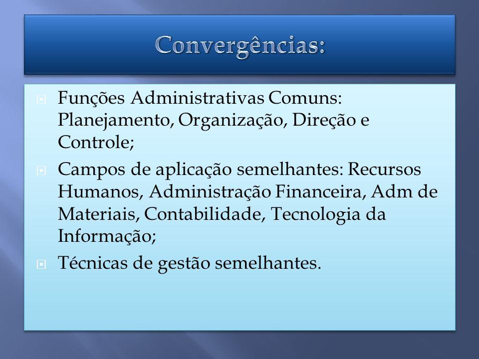 Funções Administrativas Comuns: Planejamento, Organização, Direção e Controle; Campos de aplicação semelhantes: Recursos Humanos, Administração Financeira, Adm de Materiais, Contabilidade, Tecnologia da Informação; Técnicas de gestão semelhantes.
