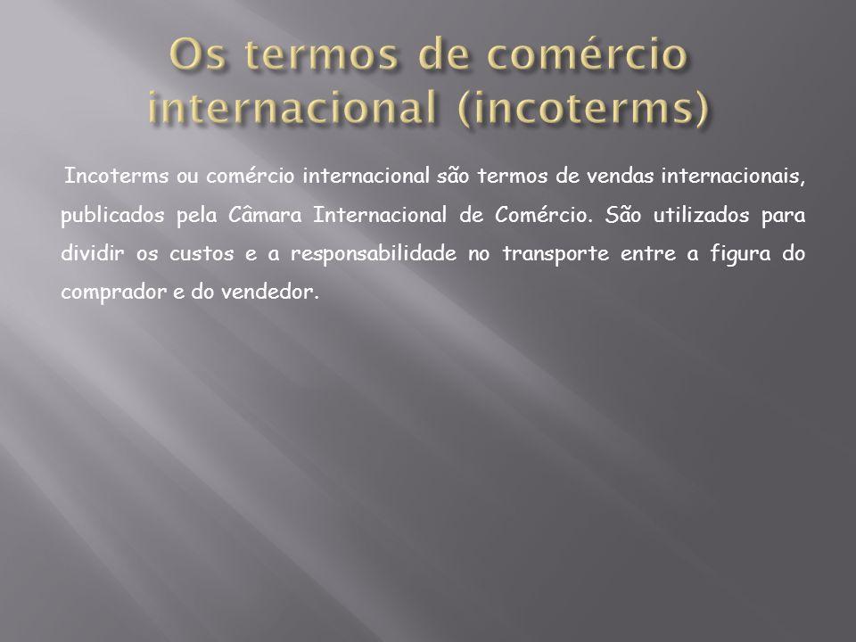Incoterms ou comércio internacional são termos de vendas internacionais, publicados pela Câmara Internacional de Comércio. São utilizados para dividir