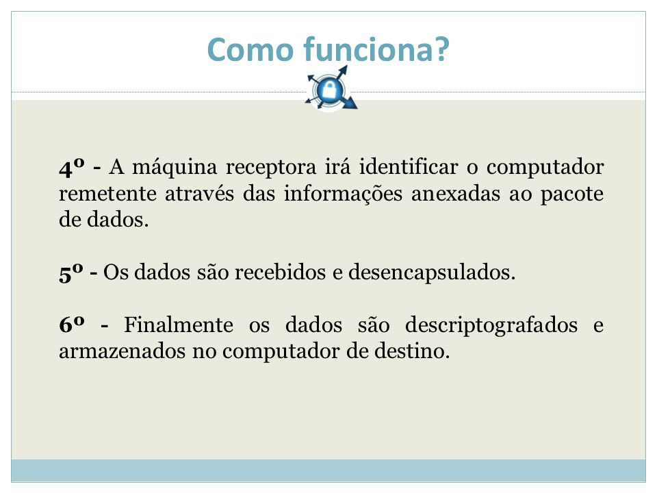 Como funciona? 4º - A máquina receptora irá identificar o computador remetente através das informações anexadas ao pacote de dados. 5º - Os dados são