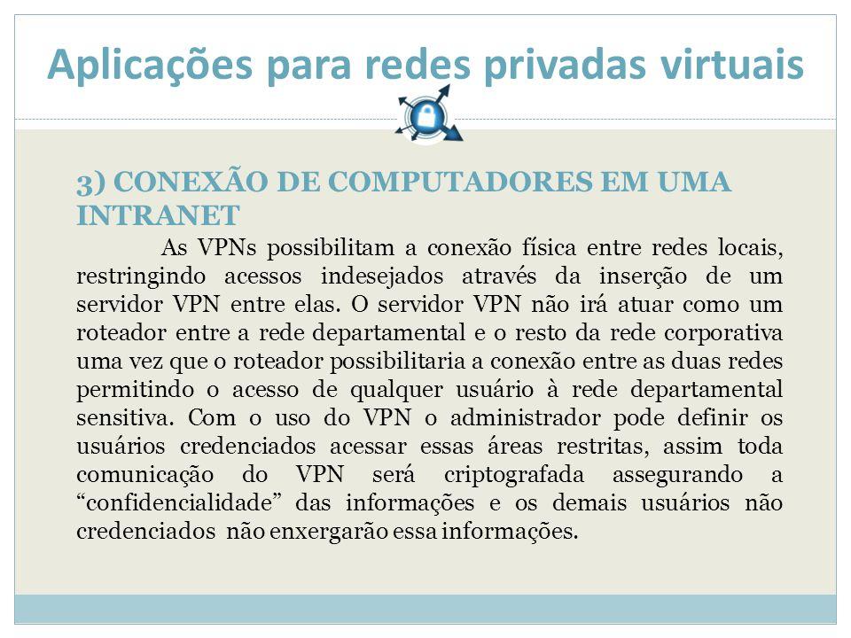 Aplicações para redes privadas virtuais 3) CONEXÃO DE COMPUTADORES EM UMA INTRANET As VPNs possibilitam a conexão física entre redes locais, restringindo acessos indesejados através da inserção de um servidor VPN entre elas.