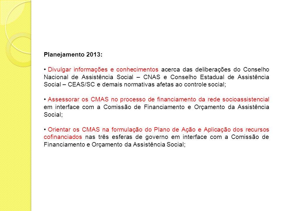 Planejamento 2013: Divulgar informações e conhecimentos acerca das deliberações do Conselho Nacional de Assistência Social – CNAS e Conselho Estadual