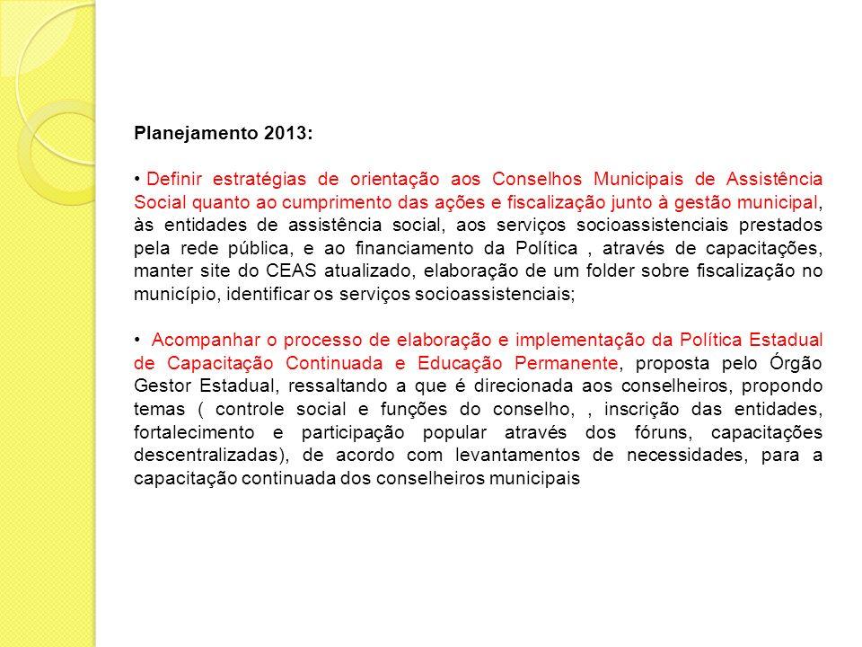 Planejamento 2013: Definir estratégias de orientação aos Conselhos Municipais de Assistência Social quanto ao cumprimento das ações e fiscalização jun