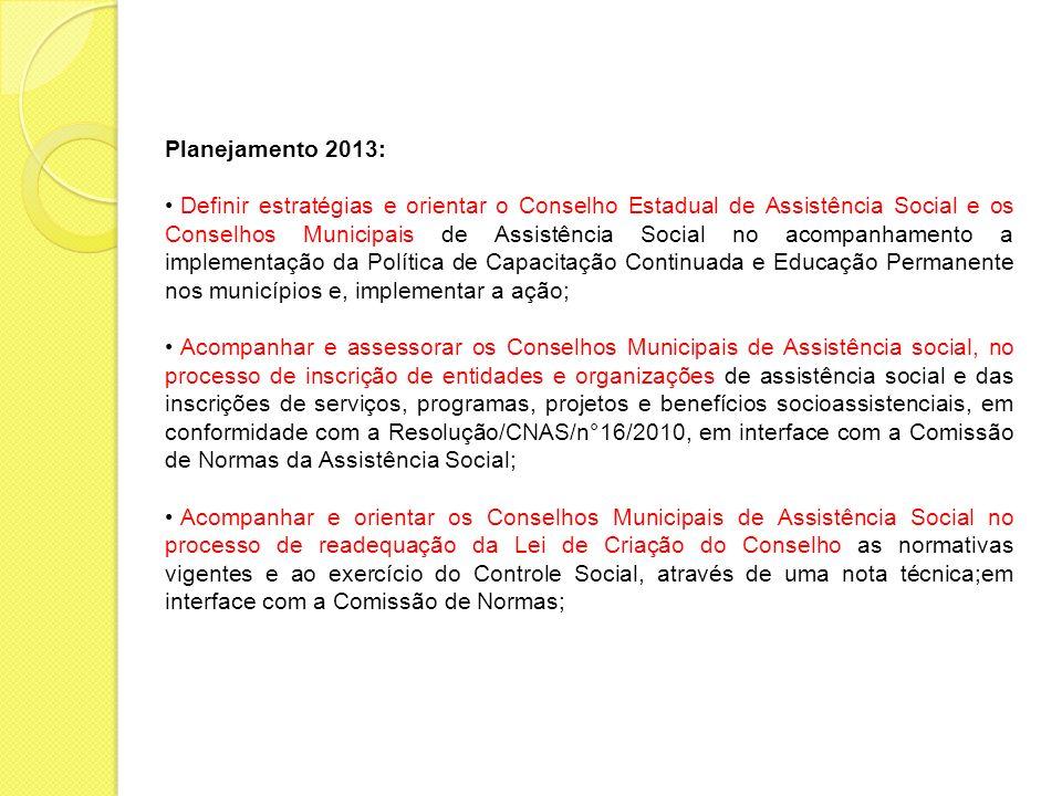 Planejamento 2013: Definir estratégias e orientar o Conselho Estadual de Assistência Social e os Conselhos Municipais de Assistência Social no acompan