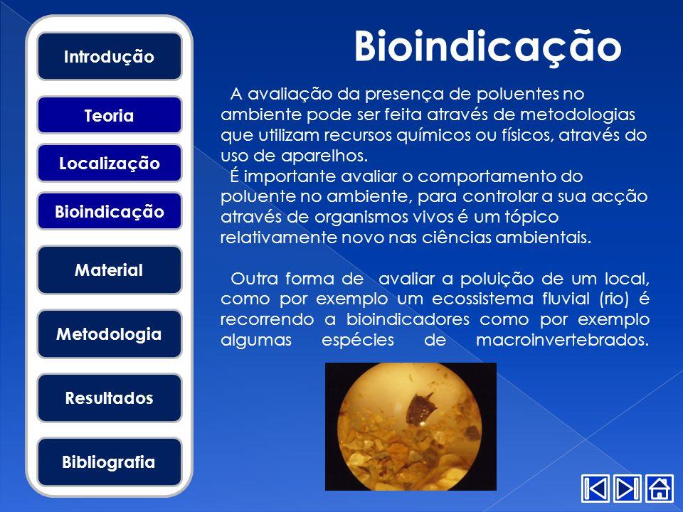 Bioindicação Introdução Material Metodologia Resultados Bibliografia Teoria Localização Bioindicação