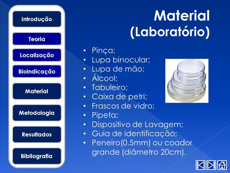 Material (Laboratório) Pinça; Lupa binocular; Lupa de mão; Álcool; Tabuleiro; Caixa de petri; Frascos de vidro; Pipeta; Dispositivo de Lavagem; Guia d