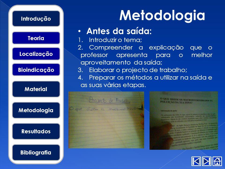 Metodologia Antes da saída: 1.Introduzir o tema; 2.Compreender a explicação que o professor apresenta para o melhor aproveitamento da saída; 3.Elabora