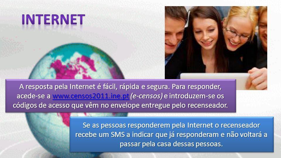 A resposta pela Internet é fácil, rápida e segura. Para responder, acede-se a www.censos2011.ine.pt (e-censos) e introduzem-se os códigos de acesso qu