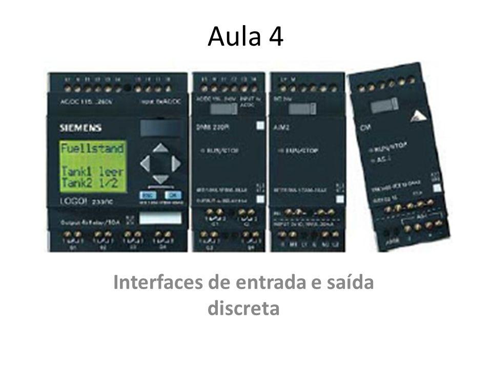 Entradas digitais Os dispositivos (sensores) mais comuns para as entradas digitais são: pressostatos; termostatos; chaves seletoras; pushbottons; sensores fotoelétricos; chaves fim-de-curso; sensores de proximidade indutivos ou capacitivos; chave BCD (de código) chaves sensoras de nível (bóia); contatos de relés.