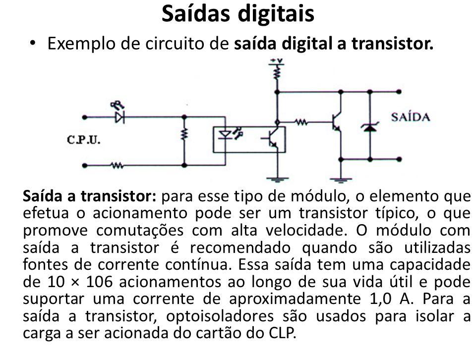 Saídas digitais Exemplo de circuito de saída digital a transistor. Saída a transistor: para esse tipo de módulo, o elemento que efetua o acionamento p