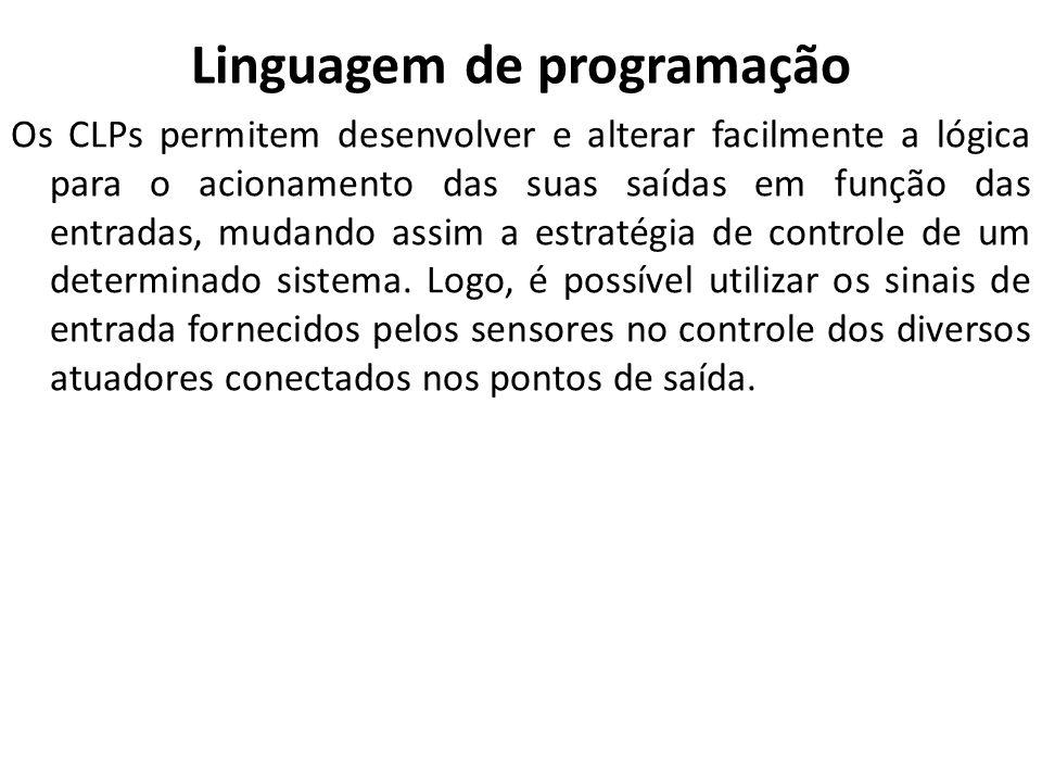 Linguagem de programação Os CLPs permitem desenvolver e alterar facilmente a lógica para o acionamento das suas saídas em função das entradas, mudando