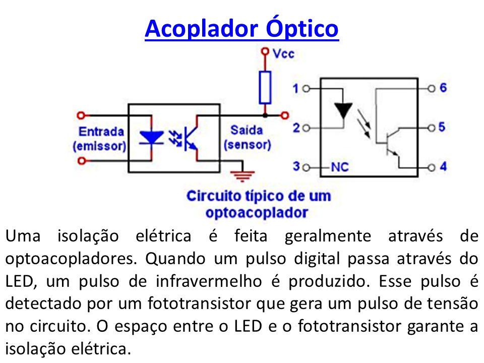 Acoplador Óptico Uma isolação elétrica é feita geralmente através de optoacopladores. Quando um pulso digital passa através do LED, um pulso de infrav