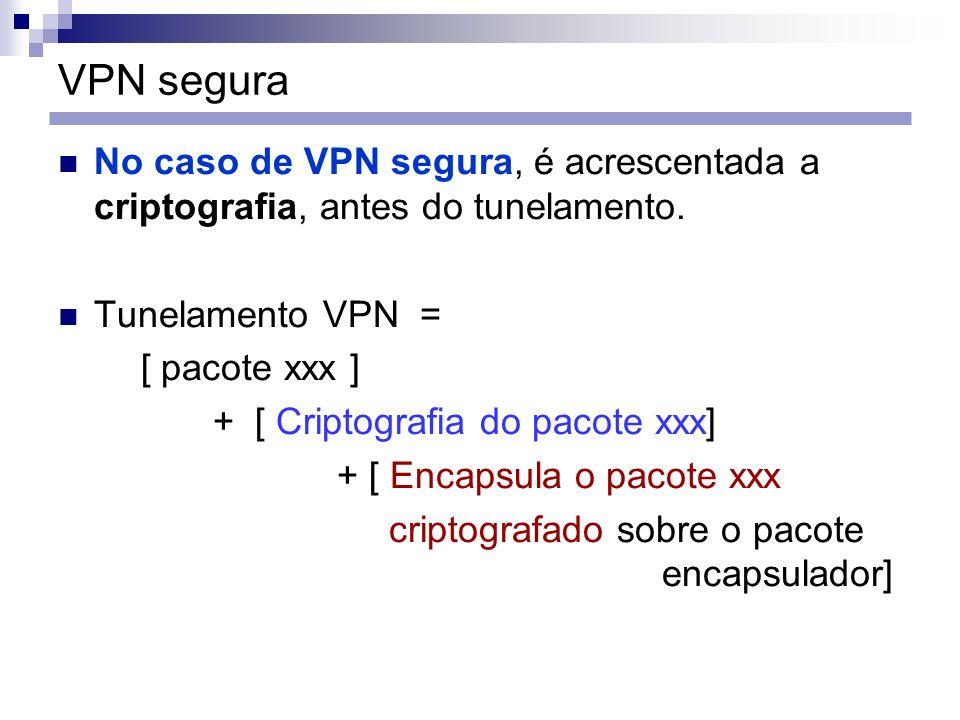VPN segura No caso de VPN segura, é acrescentada a criptografia, antes do tunelamento. Tunelamento VPN = [ pacote xxx ] + [ Criptografia do pacote xxx