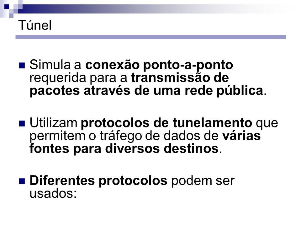 Túnel Simula a conexão ponto-a-ponto requerida para a transmissão de pacotes através de uma rede pública. Utilizam protocolos de tunelamento que permi