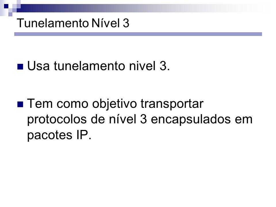 Tunelamento Nível 3 Usa tunelamento nivel 3. Tem como objetivo transportar protocolos de nível 3 encapsulados em pacotes IP.