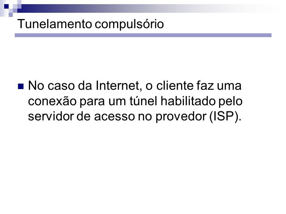 No caso da Internet, o cliente faz uma conexão para um túnel habilitado pelo servidor de acesso no provedor (ISP).
