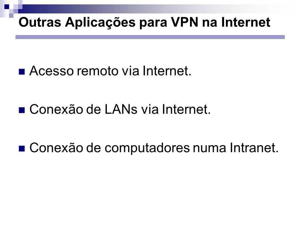 Outras Aplicações para VPN na Internet Acesso remoto via Internet. Conexão de LANs via Internet. Conexão de computadores numa Intranet.