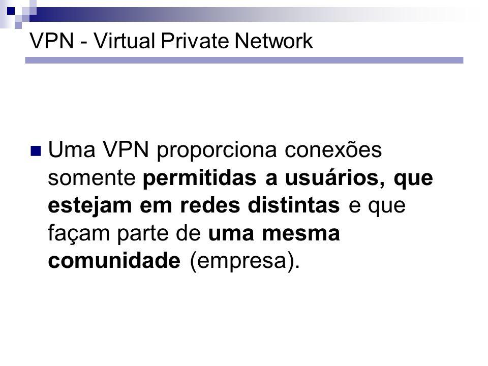 VPN - Virtual Private Network Uma VPN proporciona conexões somente permitidas a usuários, que estejam em redes distintas e que façam parte de uma mesm