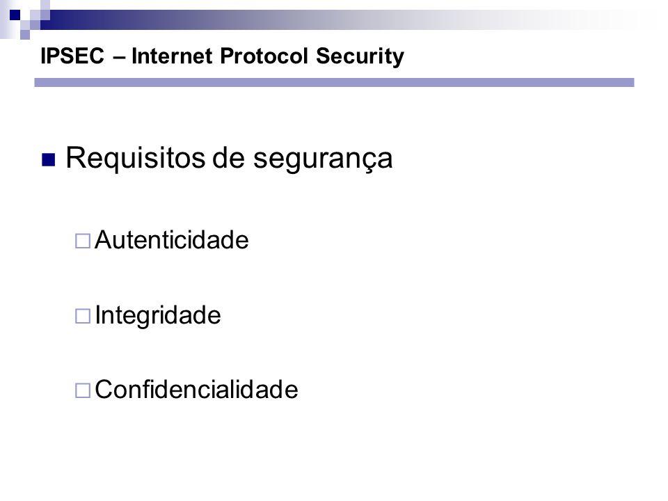 IPSEC – Internet Protocol Security Requisitos de segurança Autenticidade Integridade Confidencialidade