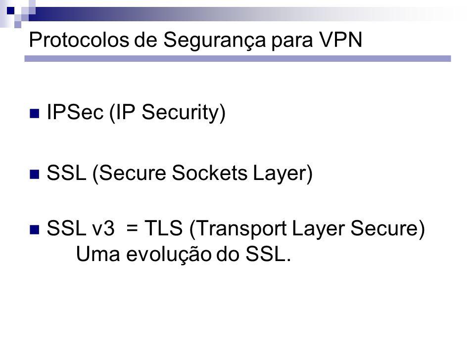 Protocolos de Segurança para VPN IPSec (IP Security) SSL (Secure Sockets Layer) SSL v3 = TLS (Transport Layer Secure) Uma evolução do SSL.