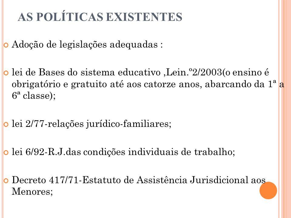 AS POLÍTICAS EXISTENTES Adoção de legislações adequadas : lei de Bases do sistema educativo,Lein.º2/2003(o ensino é obrigatório e gratuito até aos catorze anos, abarcando da 1ª a 6ª classe); lei 2/77-relações jurídico-familiares; lei 6/92-R.J.das condições individuais de trabalho; Decreto 417/71-Estatuto de Assistência Jurisdicional aos Menores;