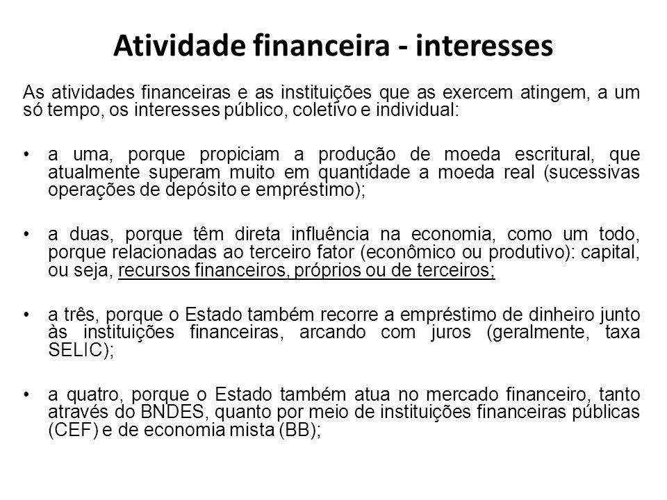 Atividade financeira - interesses As atividades financeiras e as instituições que as exercem atingem, a um só tempo, os interesses público, coletivo e