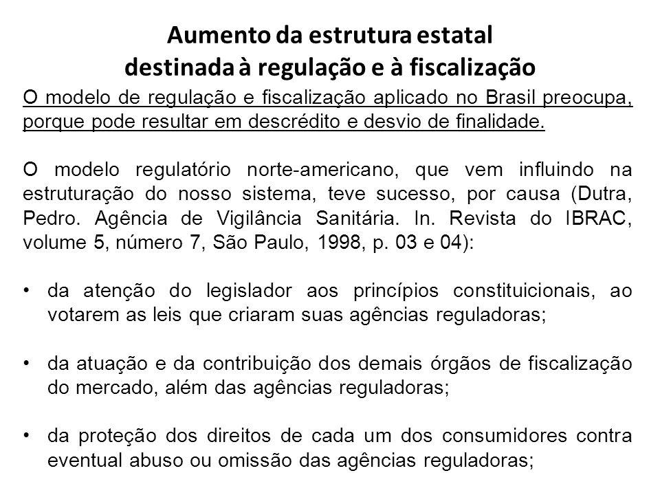 Aumento da estrutura estatal destinada à regulação e à fiscalização O modelo de regulação e fiscalização aplicado no Brasil preocupa, porque pode resu