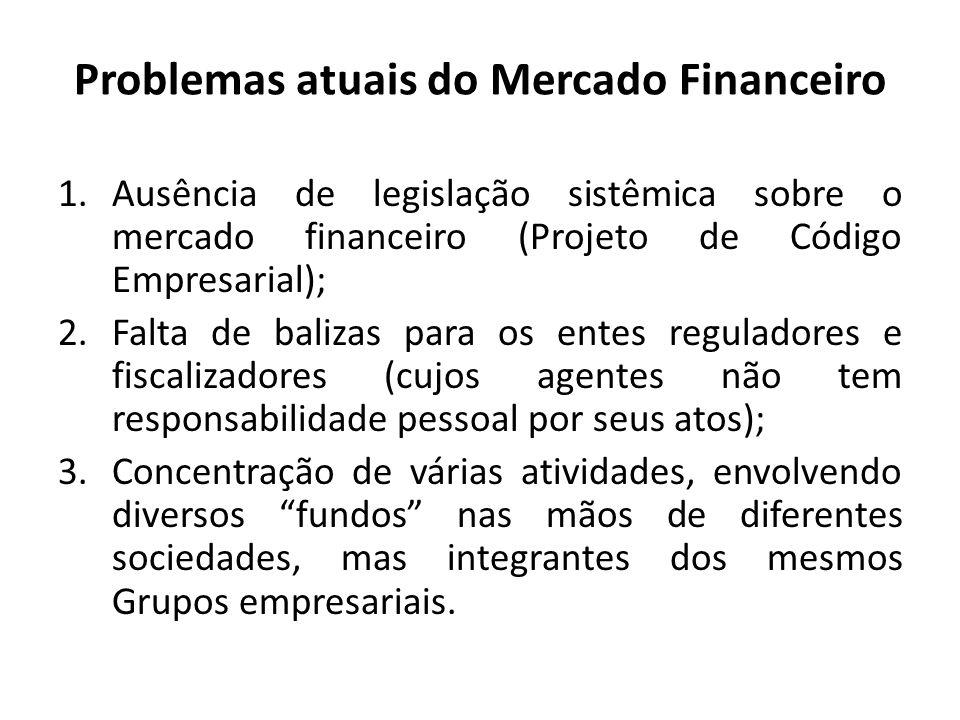 Problemas atuais do Mercado Financeiro 1.Ausência de legislação sistêmica sobre o mercado financeiro (Projeto de Código Empresarial); 2.Falta de baliz