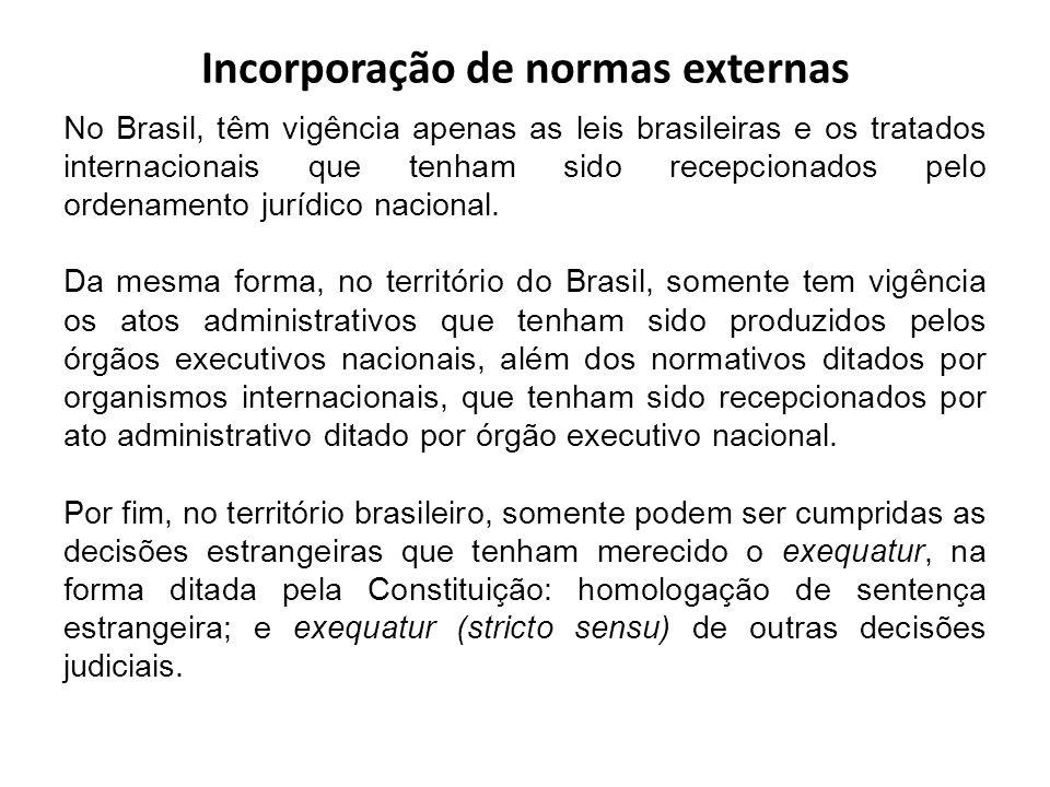 Incorporação de normas externas No Brasil, têm vigência apenas as leis brasileiras e os tratados internacionais que tenham sido recepcionados pelo ord