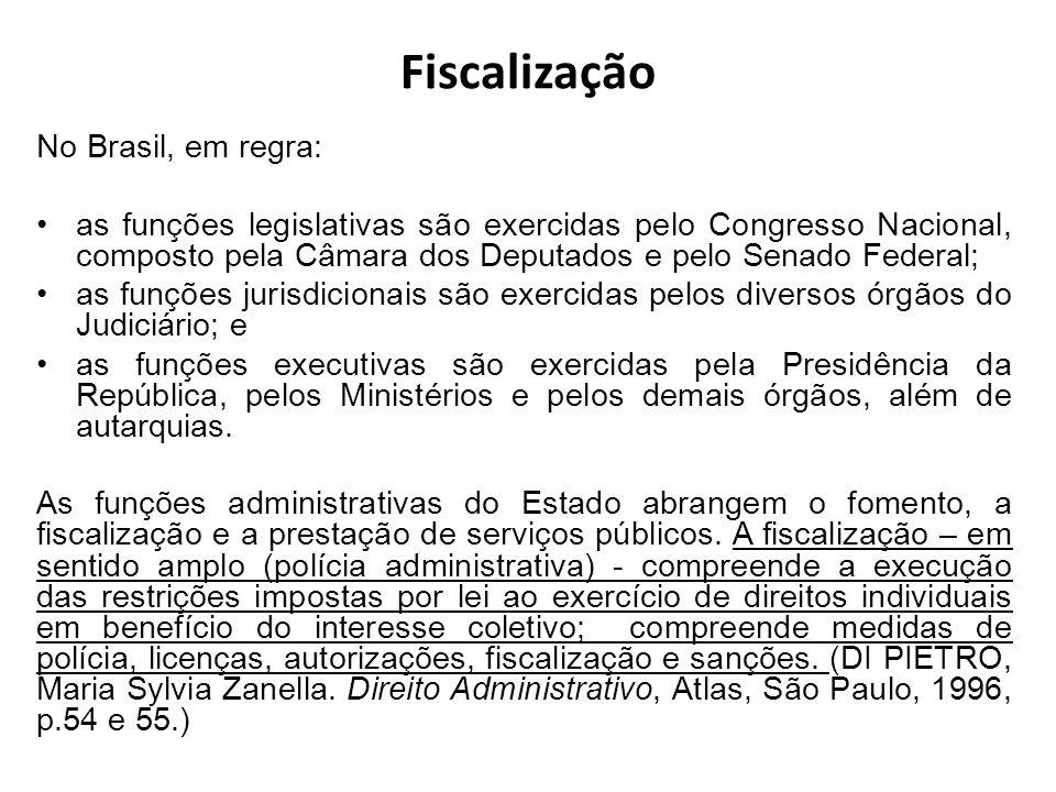 Fiscalização No Brasil, em regra: as funções legislativas são exercidas pelo Congresso Nacional, composto pela Câmara dos Deputados e pelo Senado Fede