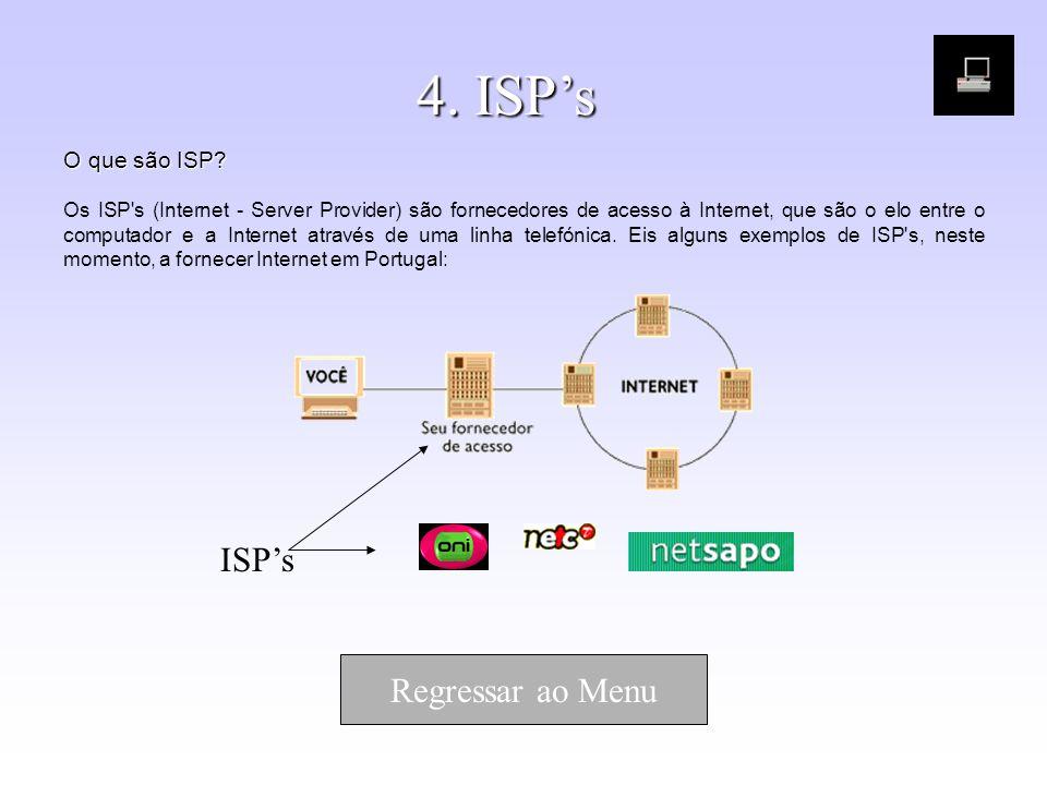 4. ISPs O que são ISP? O que são ISP? Os ISP's (Internet - Server Provider) são fornecedores de acesso à Internet, que são o elo entre o computador e