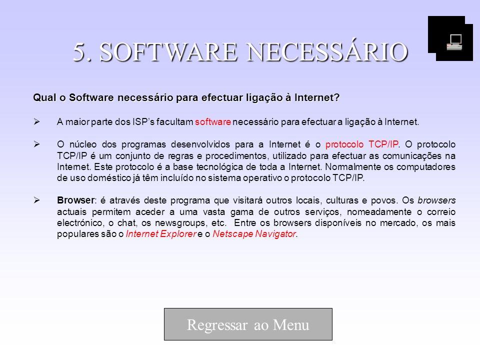 5. SOFTWARE NECESSÁRIO Qual o Software necessário para efectuar ligação à Internet? A maior parte dos ISPs facultam software necessário para efectuar